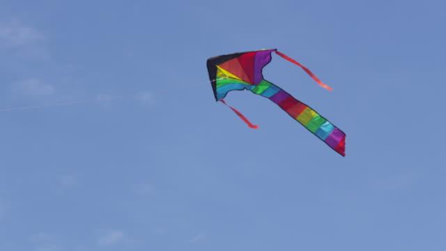 Kite flying in sky, slow motion video