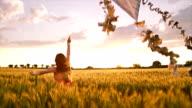 Kite Woman Running Summer Field Sunset Nature Sky video