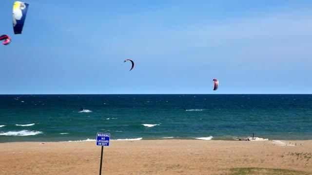 Kiteboarding on Lake Michigan HD video