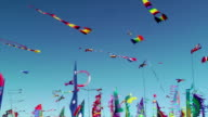 Kites and banners blowing in the wind video