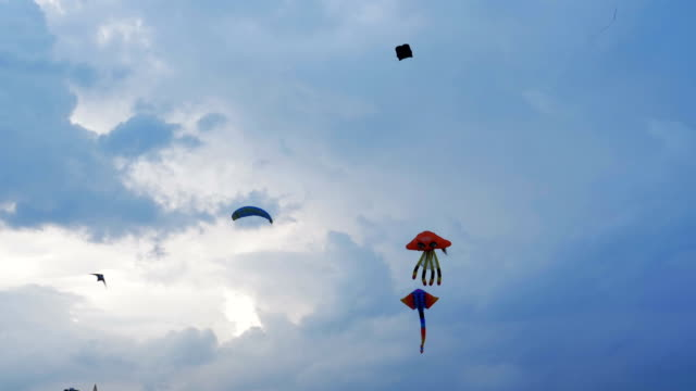 Kites in the blue sky with clouds video