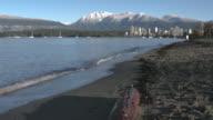 Kitsilano Beach Waves, Mountain Snow, English Bay 4K video