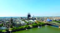 Kölner Dom Flugaufnahme video