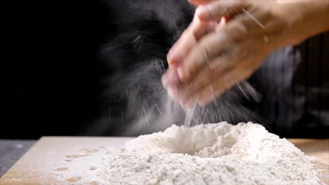 Kneading dough prepare for breafast  food video