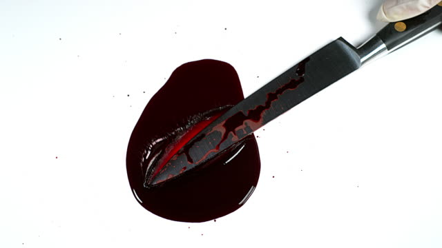 Knife with Blood against White Background, Slow Motion video