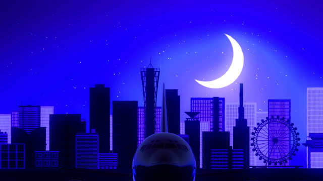 Kobe Japan Airplane Take Off Moon Night Blue Skyline Travel video