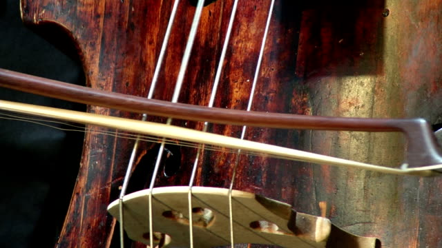 konrabass musical instrument and bow. video