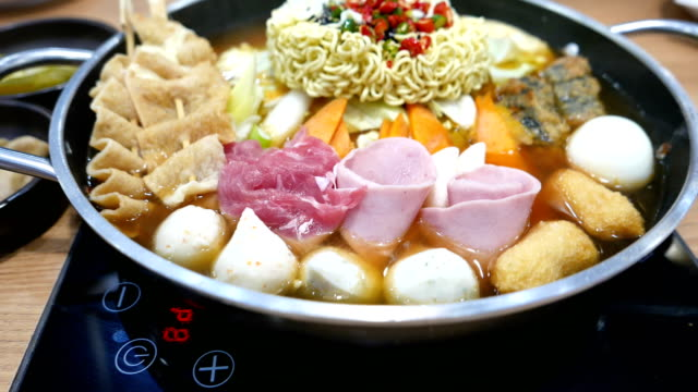 Korean Hot pot 'Budae Jjigae' or Army Stew is Korean fusion food incorporates American style video