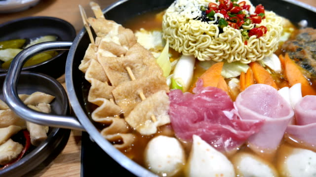 Korean Hot pot 'Budae Jjigae' or Army Stew is Korean fusion food incorporates American style. video