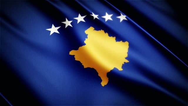 Kosovo realistic national flag seamless looped waving animation video