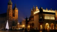 Krakow Market Square in the nighttime with christmas decorations video