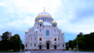 Kronstadt Naval Cathedral of St. Nicholas. St.Petersburg. Russia. timelapse video