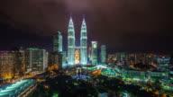 kuala lumpur famous night light block 4k time lapse malaysia video