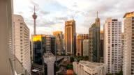 Kuala Lumpur, Malaysia- circa October 2015 :Beautiful Day to Night Sunrise Scene Over Kuala Lumpur City. Time Lapse. Showing the Famous Kuala Lumpur Tower and other bulding nearby. video