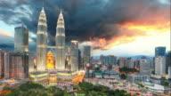Kuala Lumpur, Malaysia skyline, time lapse video