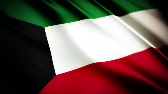 Kuwait realistic national flag seamless looped waving animation video