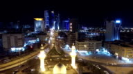 Kuwait skyline at night. Some famous places in Kuwait shooting from the sky video