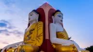 Kyaikpun Buddha Landmark Of Bago, Myanmar Time Lapse Sunset video