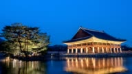 Kyeonghoe-ru pavilion in Gyeongbokgung Palace timelapse, Seoul, South Korea, HD time lapse video