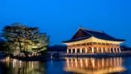 Kyeonghoe-ru pavilion in Gyeongbokgung Palace timelapse, Seoul, South Korea, 4K time lapse video