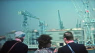 1972: Kyoto ocean shipping container cranes and high tech harbor. video