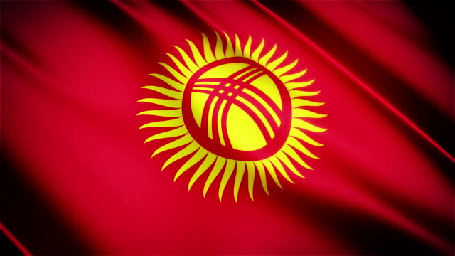 Kyrgyzstan realistic national flag seamless looped waving animation video