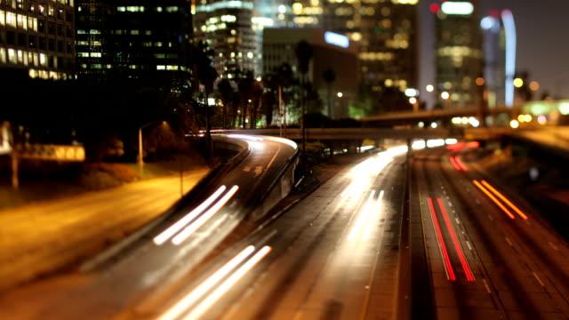 La Freeway Night Timelapse Traffic Downtown Los Angeles video