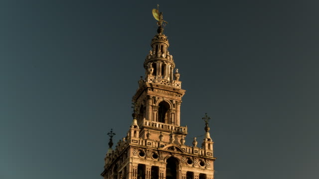 la giralda cathedral close up view with fortissima words timelapse video