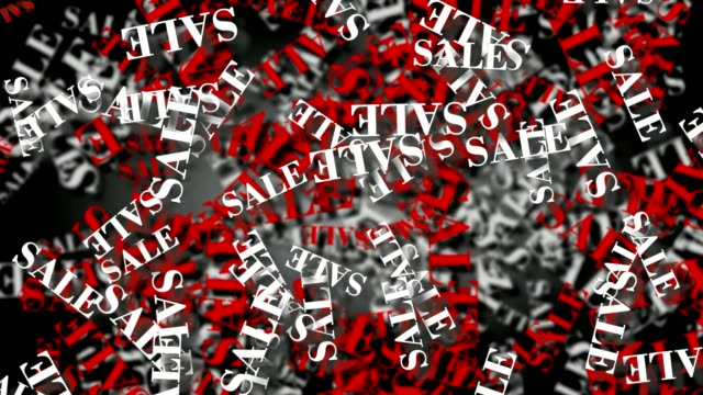 Labels sale rotate on black background. Loop animation video