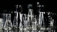 Laboratory Glassware on Black video