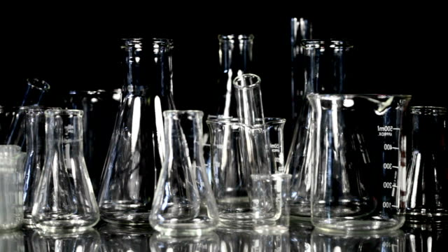 Laboratory Glassware on Black video