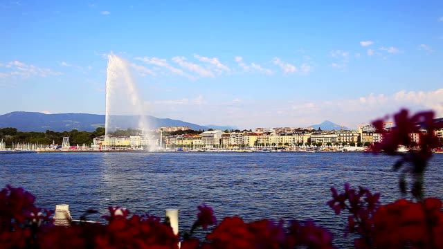 Lac Leman Geneva fountain video