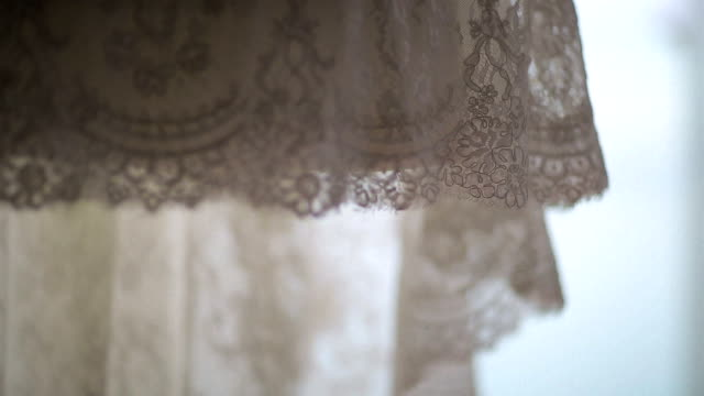 Lace wedding dress close up video