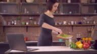 Lady cuts pepper for lunch video