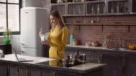 Lady enjoy asian cuisine in flat video