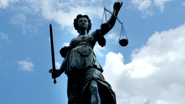 Lady Justice Against Cloudy Sky (4K/UHD to HD) video