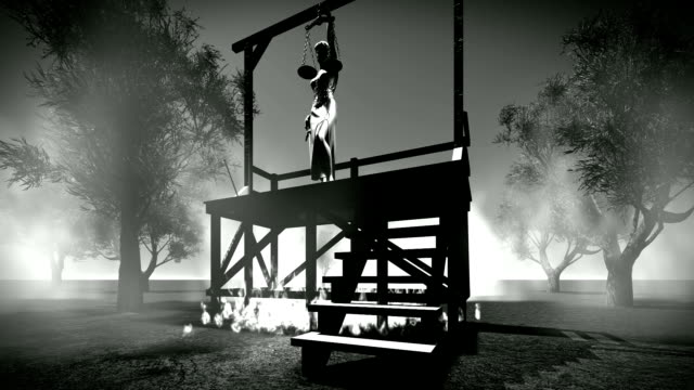 Lady of justice on hanging gallows video