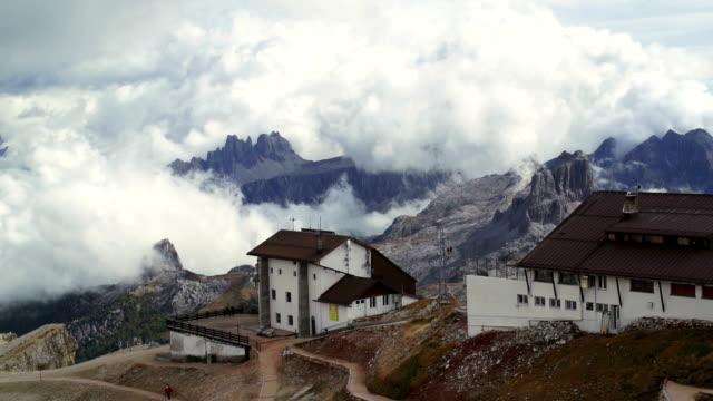 Lagazuoi with Rifugio and Cable Car Station PAN video