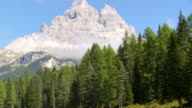 Lago Antorno (Lago d'Antorno) and the south face of the Tre Cime di Lavaredo peaks in the Dolomites mountains video