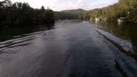 Lake Aerial Following Boat video