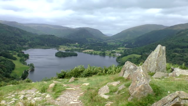 Lake and mountain panorama,England video