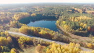 Lake and road aerial shot video