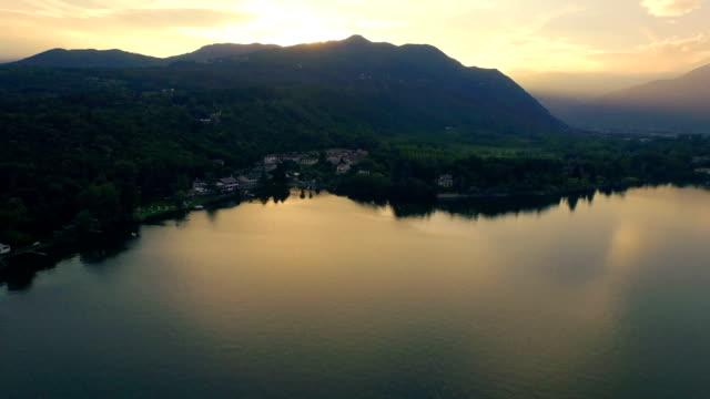 Lake at sunset - Aerial view video