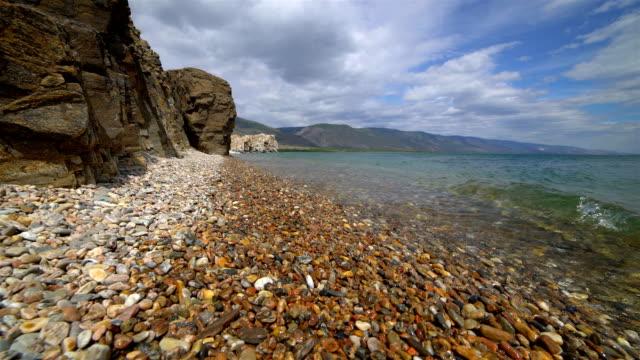 Lake Baikal, rocks and vawes video