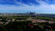 Lake Cliff Park View of Dallas Texas aerial drone view over Urban Major City in the Lone Star State video