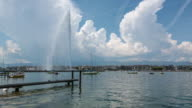 Lake Geneva And Jet D'Eau Fountain Timelapse, Switzerland video