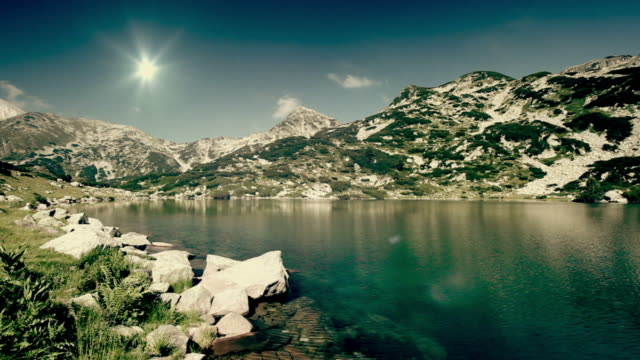 Lake in mountains video