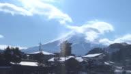 lake Kawaguchiko landscape and mountain on winter season from train view, Japan. video
