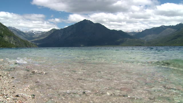 Lake 'Lago Epuyen' surrounded by mountains video