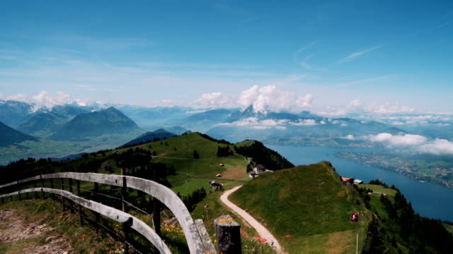 Lake Lucerne with Pennine Alps from mountain Rigi video